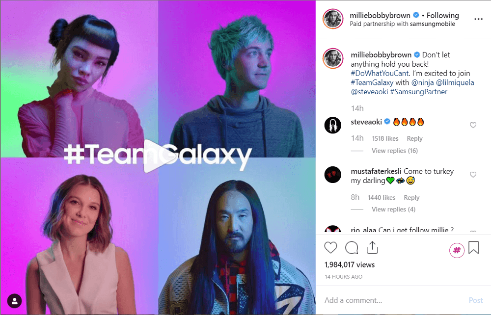 Samsung collaboration with Instagram influencers