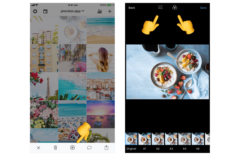 Editing photos in The Preview App
