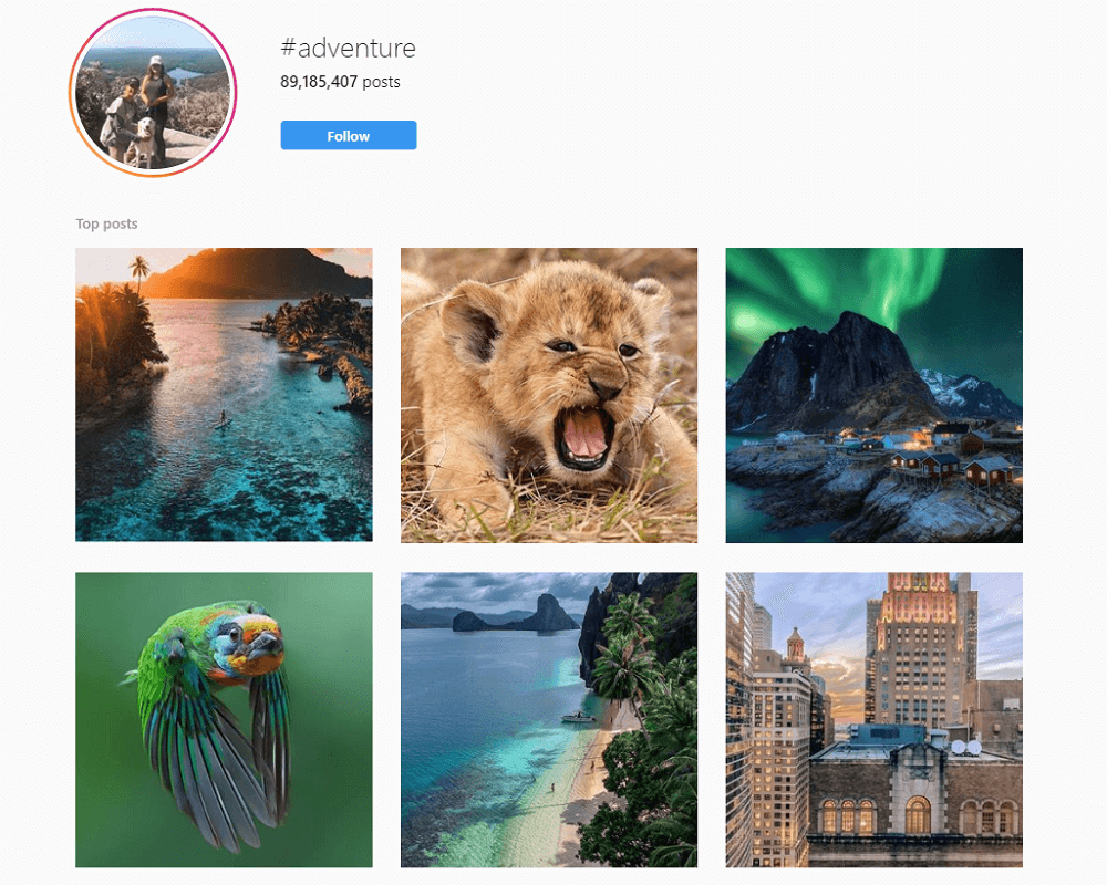 #adventure hashtag page