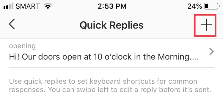How to create an Instagram quick reply