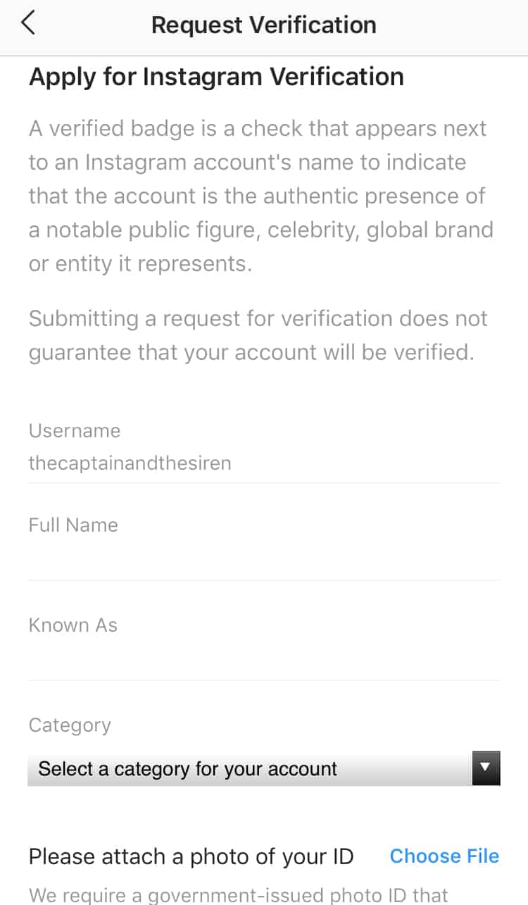 how to get verified on instagram step 4