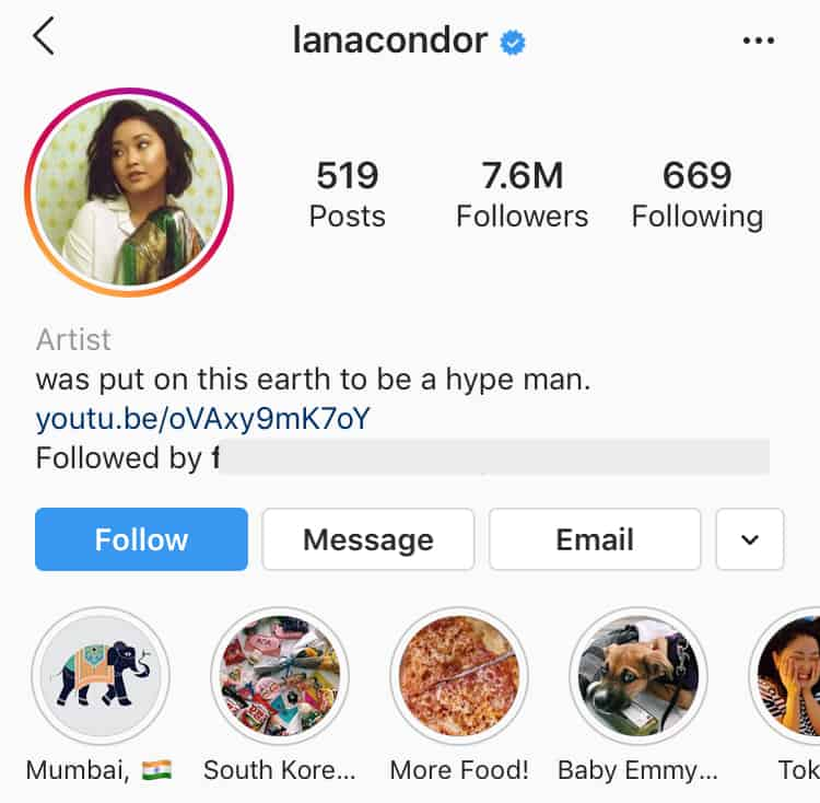 Celebrity instagram verified sample