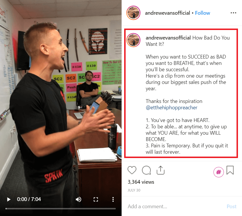 Writing meaningful Instagram captions - @andrewevansofficial