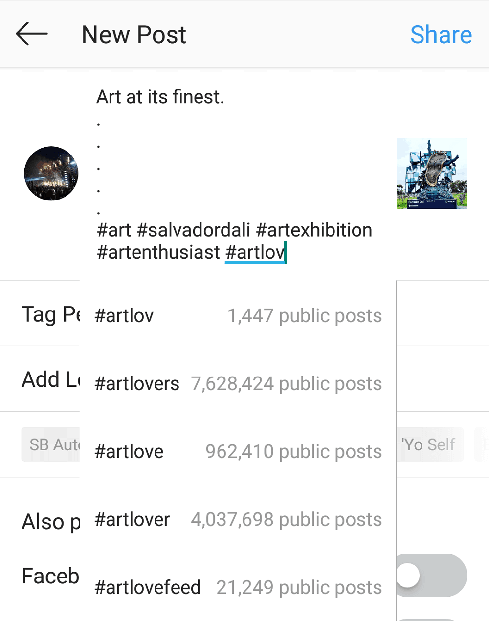 Finding Instagram hashtags - using the search function