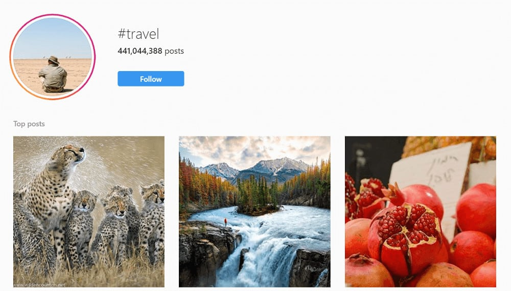 Instagram - #travel hashtag