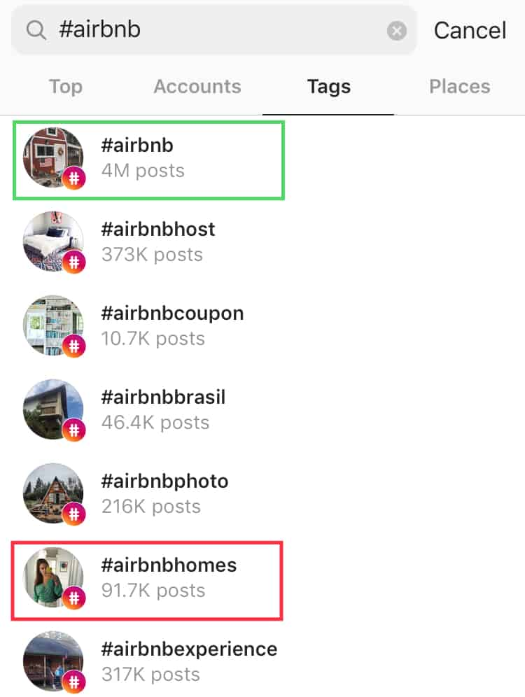 finding the right Instagram tag