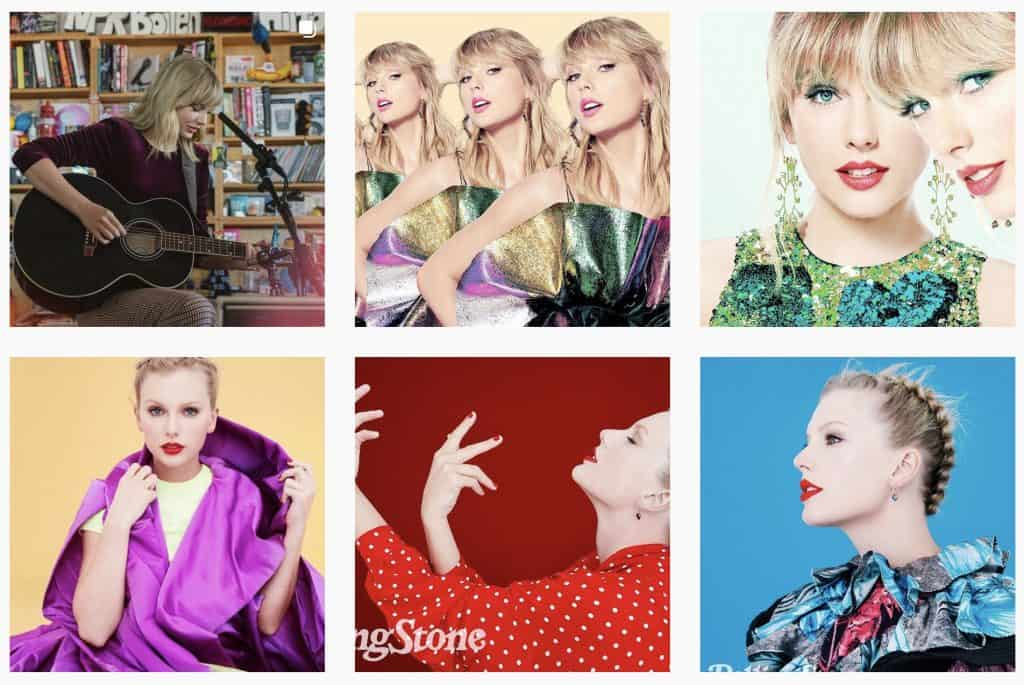 Taylor Swift's Instagram feed showing the style of her photos
