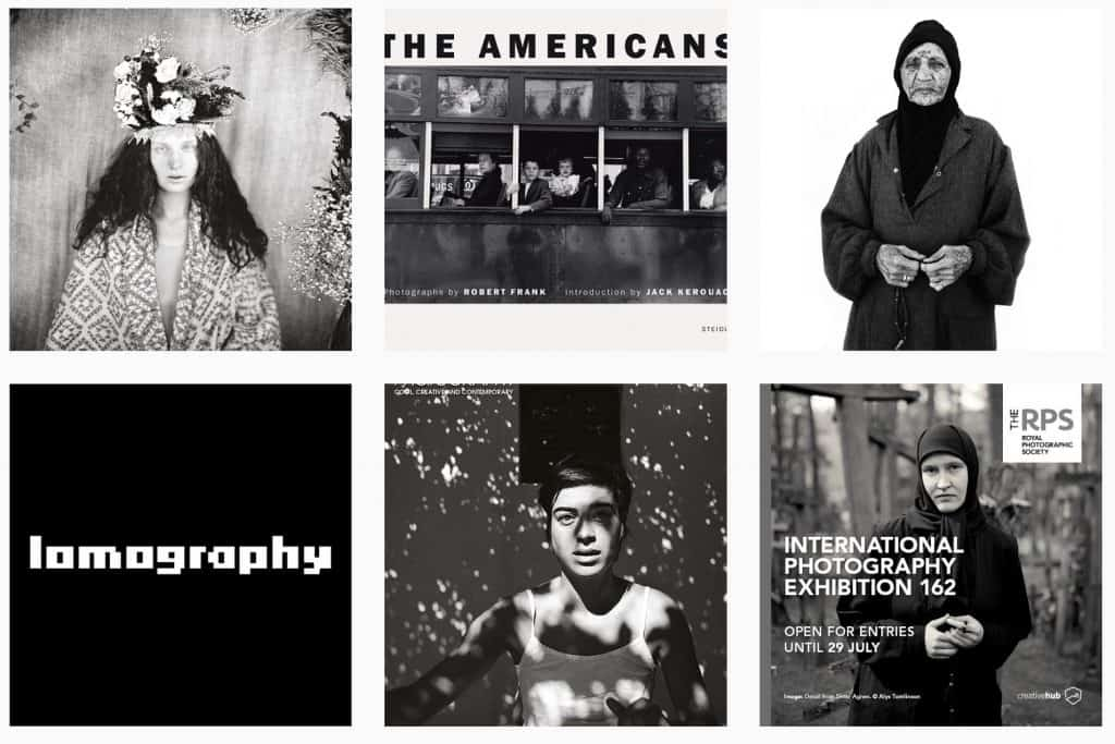 A screenshot of BW photomag's feed, displaying Instagram black and white photographs.