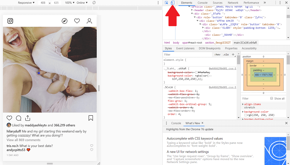 Instagram for PC - Inspect Browser