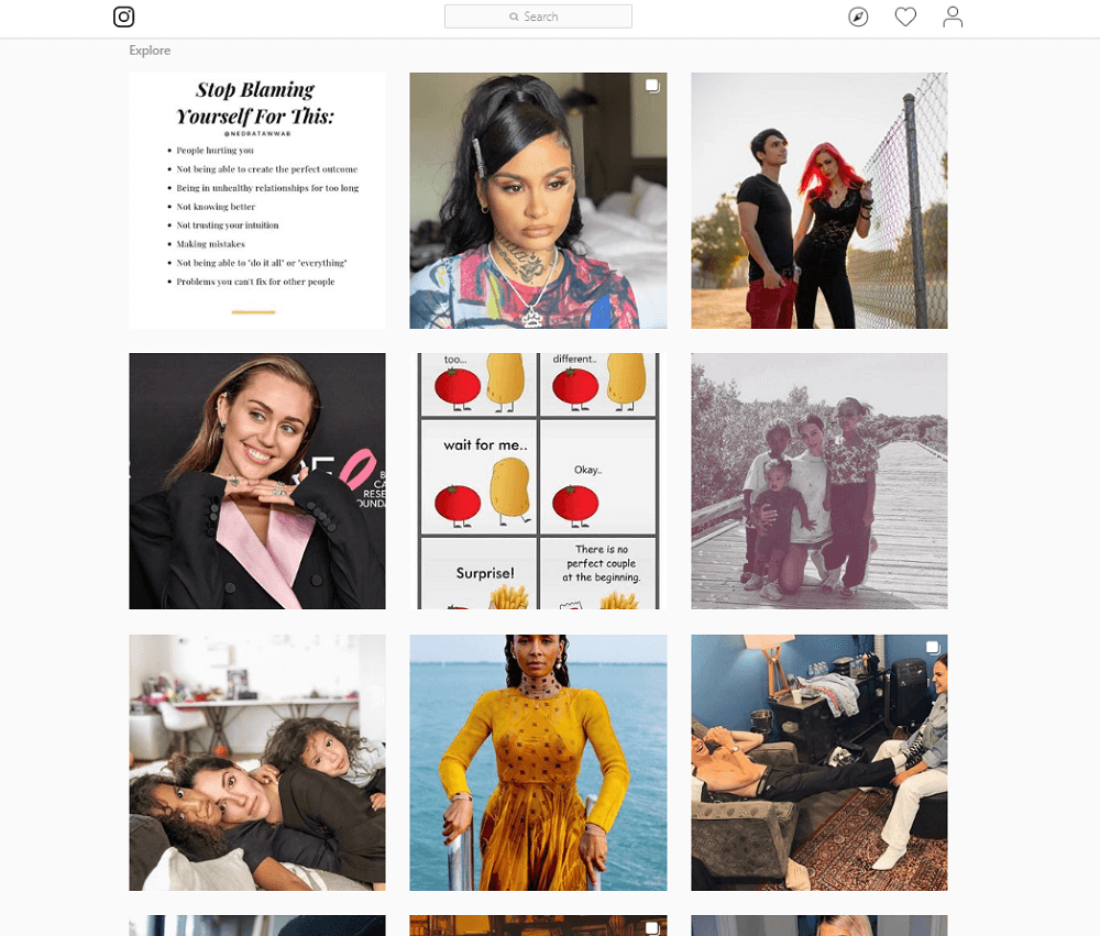 Use Instagram from computer - Explore page