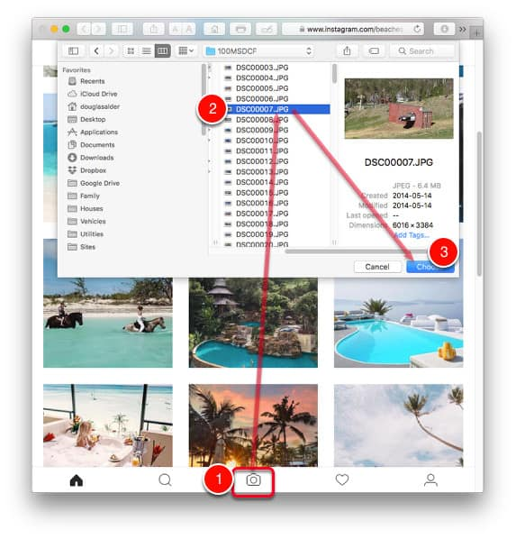 Safari - uploading photos to Instagram from computer