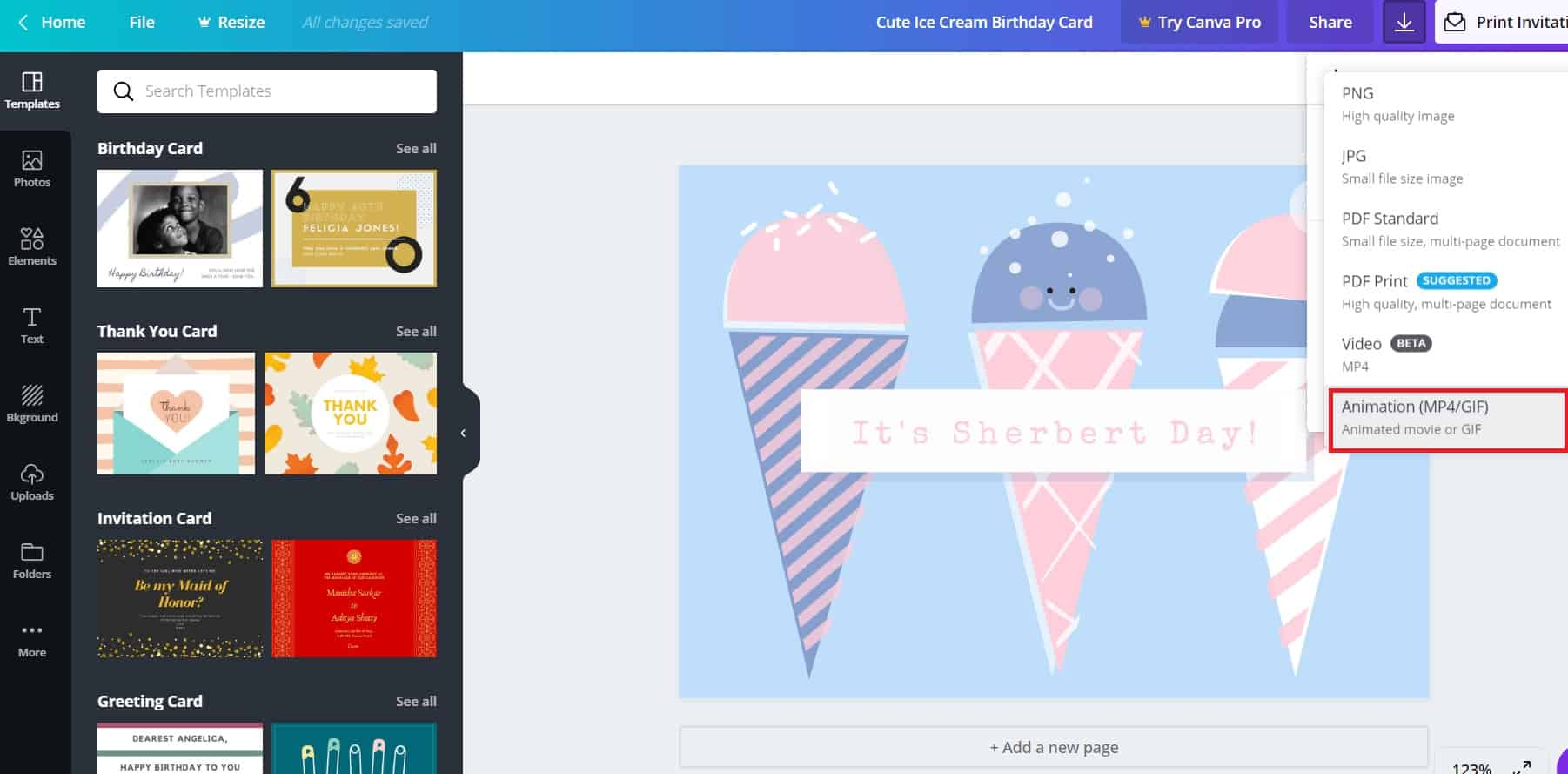 Create Instagram videos in Canva animation