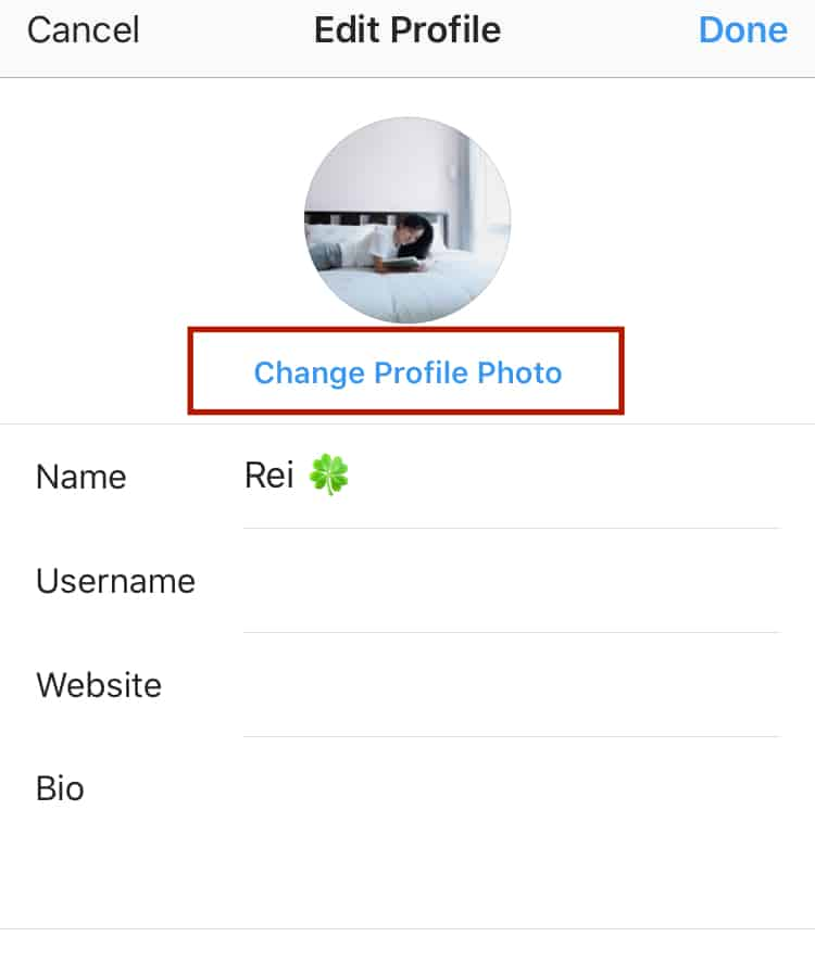 how to change your Instagram profile picture step 2