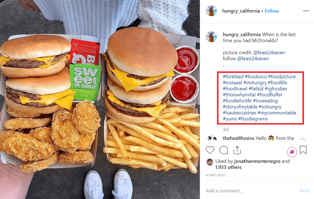 Using niche-specific hashtags (hungry_california)