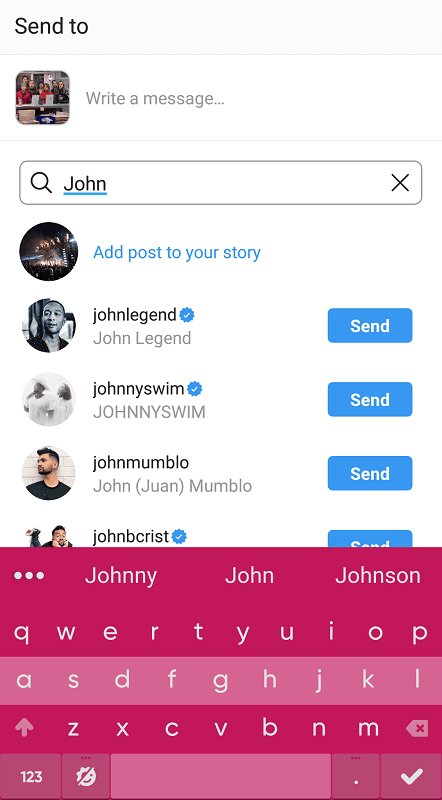 Sharing an Instagram post - searching for users