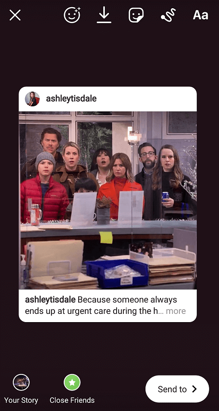 Sharing a post to your Story (ashleytisdale)