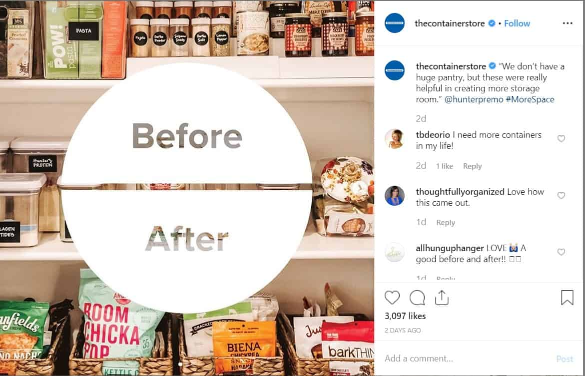 the container store instagram carousel before and after