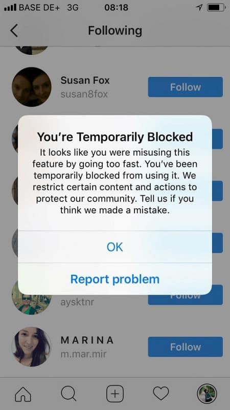 Instagram follow block - Techzillo