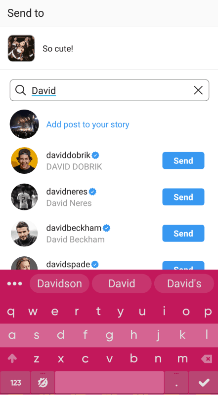 Instagram - search for users (direct message)
