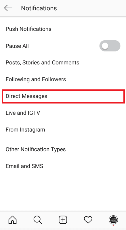 Instagram notification settings - Direct Messages