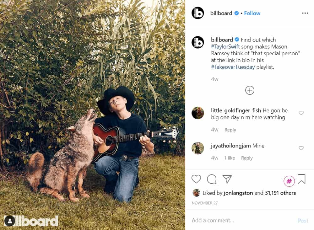 Instagram takeover example - Billboard (@billboard)