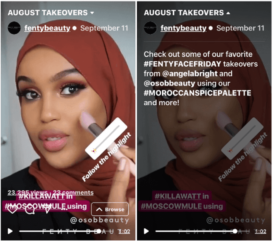 Instagram fentybeauty takeover - Social Media Examiner