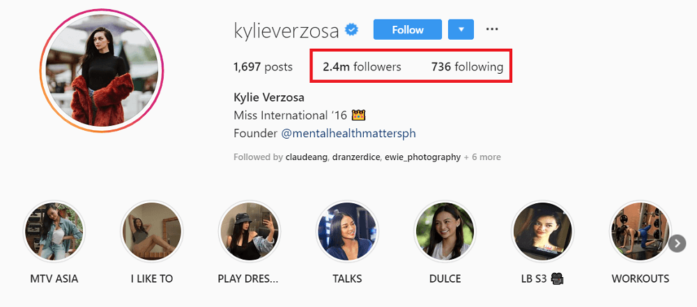 @kylieversoza follower-following ratio