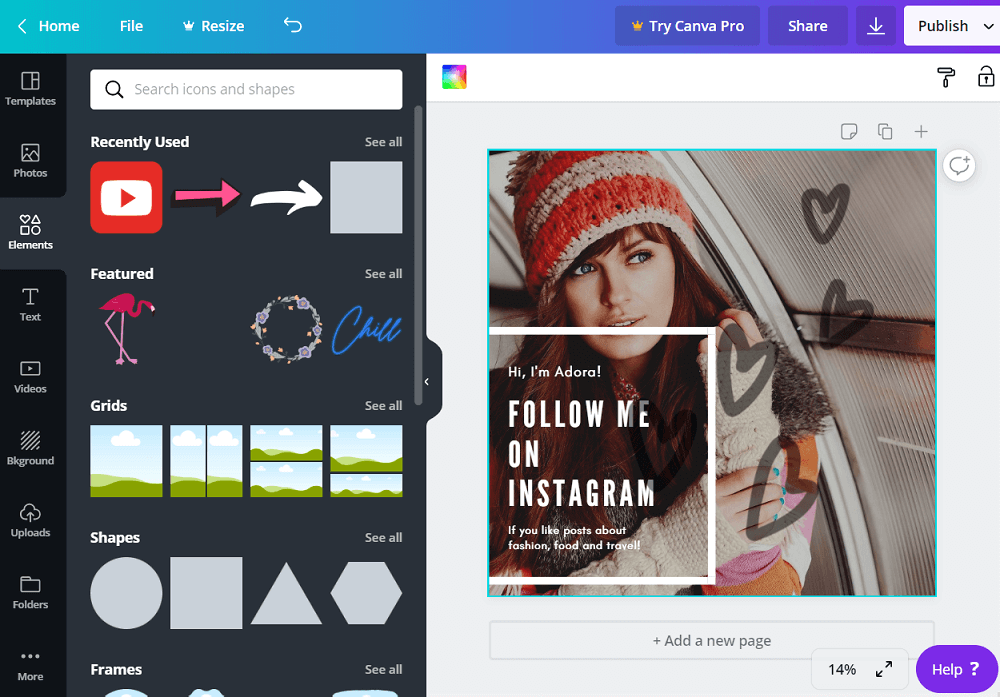 Creating an Instagram banner on Canva