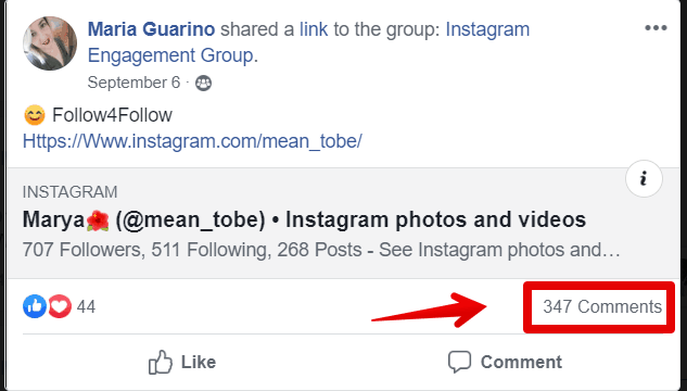 follow4follow post example from instagram engagement groups