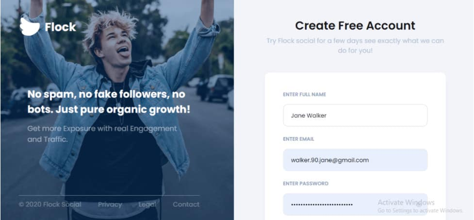 Image that explains how to create an account in Flock Social