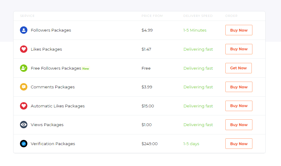 A screenshot showing a list of services on Skweezer