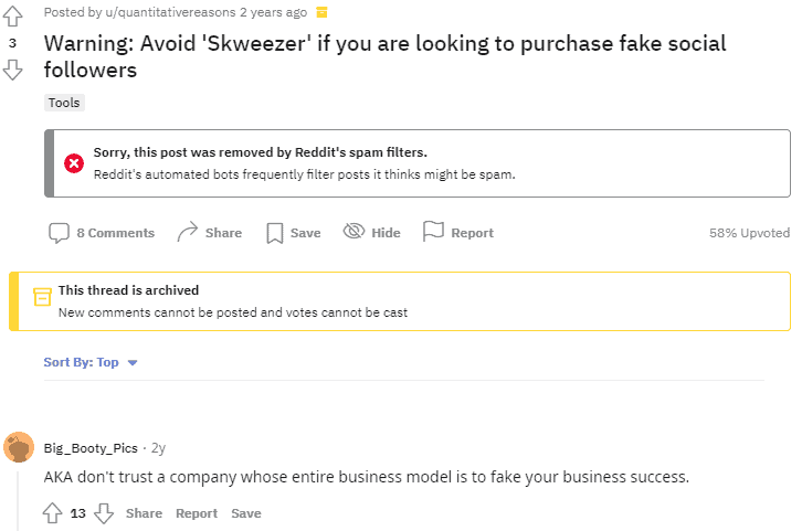 A screenshot showing the comments on Reddit.