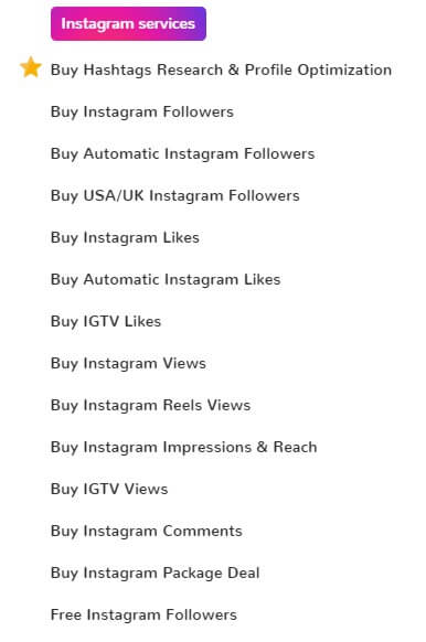A screenshot of Mr. Insta's Instagram services taken from the company's official website.