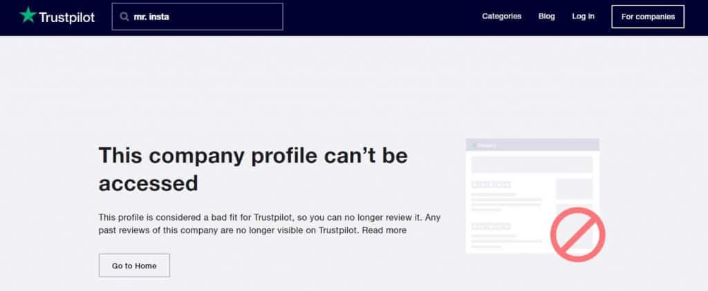 An image of the non-existent Mr. Insta's Trustpilot page