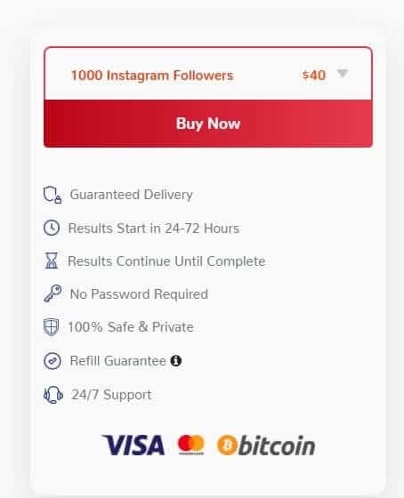 A screenshot of Mr. Insta's price for 1000 followers