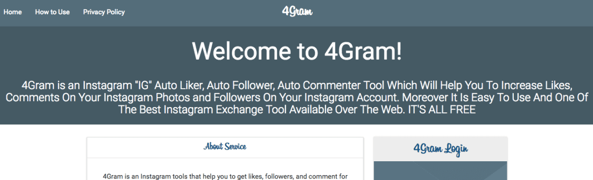 A screenshot of the former homepage of 4gram's site