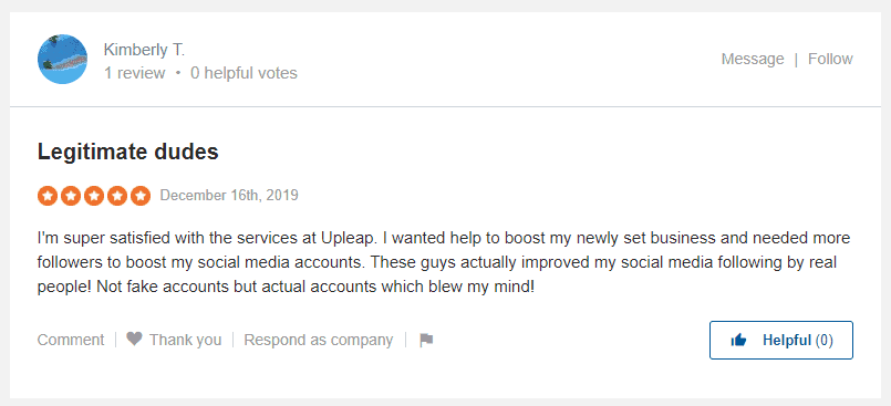 A screenshot showing a positive review on Sitejabber