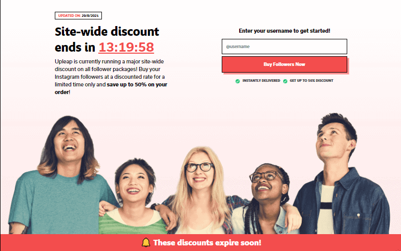 A screenshot showing the sitewide discount